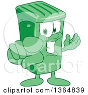 Clipart Of A Cartoon Green Rolling Trash Can Bin Mascot Presenting And Pointing Outwards Royalty Free Vector Illustration