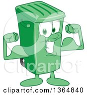Clipart Of A Cartoon Green Rolling Trash Can Bin Mascot Flexing Royalty Free Vector Illustration