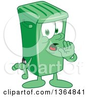 Clipart Of A Cartoon Green Rolling Trash Can Bin Mascot Whispering Royalty Free Vector Illustration