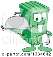 Clipart Of A Cartoon Green Rolling Trash Can Bin Mascot Waiter Holding A Cloche Platter Royalty Free Vector Illustration