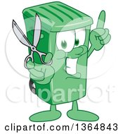Clipart Of A Cartoon Green Rolling Trash Can Bin Mascot Holding Up A Finger And Scissors Royalty Free Vector Illustration