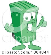 Clipart Of A Cartoon Green Rolling Trash Can Bin Mascot Giving A Thumb Up Royalty Free Vector Illustration