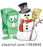 Clipart Of A Cartoon Green Rolling Trash Can Bin Mascot With A Christmas Snowman Royalty Free Vector Illustration