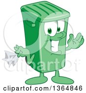 Clipart Of A Cartoon Green Rolling Trash Can Bin Mascot Holding A Napkin Or Hankie Royalty Free Vector Illustration