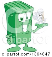 Clipart Of A Cartoon Green Rolling Trash Can Bin Mascot Holding A Tin Can Royalty Free Vector Illustration