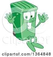 Clipart Of A Cartoon Green Rolling Trash Can Bin Mascot Jumping Royalty Free Vector Illustration