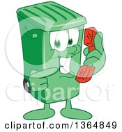 Clipart Of A Cartoon Green Rolling Trash Can Bin Mascot Holding And Pointing To A Telephone Royalty Free Vector Illustration