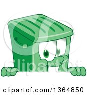 Clipart Of A Cartoon Green Rolling Trash Can Bin Mascot Smiling Over A Sign Royalty Free Vector Illustration