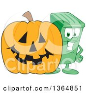 Clipart Of A Cartoon Green Rolling Trash Can Bin Mascot By A Halloween Jackolantern Pumpkin Royalty Free Vector Illustration