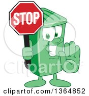 Clipart Of A Cartoon Green Rolling Trash Can Bin Mascot Gesturing And Holding A Stop Sign Royalty Free Vector Illustration
