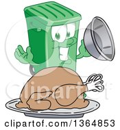 Clipart Of A Cartoon Green Rolling Trash Can Bin Mascot Serving A Roasted Thanksgiving Turkey Royalty Free Vector Illustration