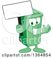 Clipart Of A Cartoon Green Rolling Trash Can Bin Mascot Holding A Blank Sign Royalty Free Vector Illustration