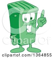 Clipart Of A Cartoon Green Rolling Trash Can Bin Mascot Holding Up A Finger Royalty Free Vector Illustration