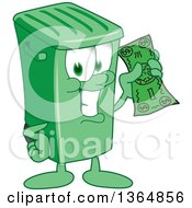 Clipart Of A Cartoon Green Rolling Trash Can Bin Mascot Holding Cash Money Royalty Free Vector Illustration