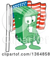 Clipart Of A Cartoon Green Rolling Trash Can Bin Mascot Pledging Allegiance To The American Flag Royalty Free Vector Illustration