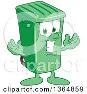 Cartoon Green Rolling Trash Can Bin Mascot Welcoming