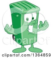 Clipart Of A Cartoon Green Rolling Trash Can Bin Mascot Welcoming Royalty Free Vector Illustration by Toons4Biz