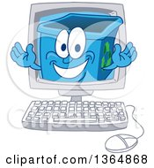 Clipart Of A Cartoon Blue Recycle Bin Mascot Emerging From A Desktop Computer Screen Royalty Free Vector Illustration
