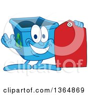 Cartoon Blue Recycle Bin Mascot Holding A Sales Tag