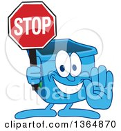 Clipart Of A Cartoon Blue Recycle Bin Mascot Gesturing And Holding A Stop Sign Royalty Free Vector Illustration