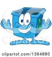 Cartoon Blue Recycle Bin Mascot Welcoming