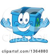 Clipart Of A Cartoon Blue Recycle Bin Mascot Welcoming Royalty Free Vector Illustration by Toons4Biz