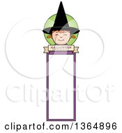 Clipart Of A Halloween Witch Girl Bookmark Royalty Free Vector Illustration