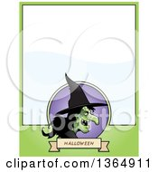 Clipart Of A Halloween Ugly Warty Witch Page Design With Text Space On Green Royalty Free Vector Illustration