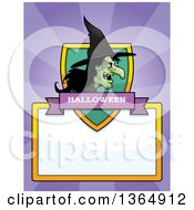 Clipart Of A Halloween Ugly Warty Witch Shield Over A Blank Sign And Rays Royalty Free Vector Illustration