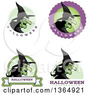 Clipart Of Halloween Ugly Warty Witch Badges Royalty Free Vector Illustration