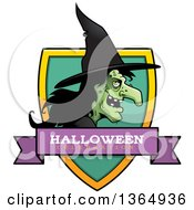 Clipart Of A Halloween Ugly Warty Witch Halloween Celebration Shield Royalty Free Vector Illustration