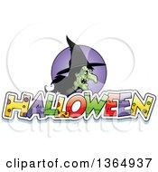 Clipart Of An Ugly Warty Witch Over Halloween Text Royalty Free Vector Illustration