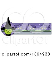 Clipart Of A Green Halloween Witch Girl Banner Or Border Royalty Free Vector Illustration
