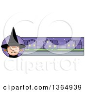 Clipart Of A Halloween Witch Girl Banner Or Border Royalty Free Vector Illustration