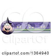Clipart Of A Chubby Halloween Witch Woman Banner Or Border Royalty Free Vector Illustration