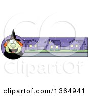Clipart Of A Green Halloween Witch Woman Banner Or Border Royalty Free Vector Illustration