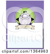 Clipart Of A Purple Halloween Vampire Page Design With Text Space On Purple Royalty Free Vector Illustration