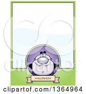 Clipart Of A Purple Halloween Vampire Page Design With Text Space On Green Royalty Free Vector Illustration