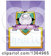 Clipart Of A Purple Halloween Vampire Shield Over A Blank Sign And Rays Royalty Free Vector Illustration