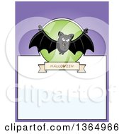 Clipart Of A Halloween Vampire Bat Page Design With Text Space On Purple Royalty Free Vector Illustration
