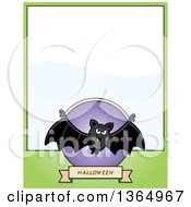 Clipart Of A Halloween Vampire Bat Page Design With Text Space On Green Royalty Free Vector Illustration