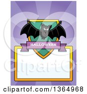 Clipart Of A Halloween Vampire Bat Shield Over A Blank Sign And Rays Royalty Free Vector Illustration