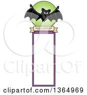 Clipart Of A Halloween Flying Bat Bookmark Royalty Free Vector Illustration