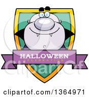 Clipart Of A Purple Halloween Vampire Halloween Celebration Shield Royalty Free Vector Illustration
