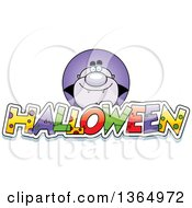 Clipart Of A Purple Vampire Over Halloween Text Royalty Free Vector Illustration