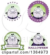 Clipart Of Purple Halloween Vampire Badges Royalty Free Vector Illustration