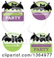 Clipart Of Halloween Vampire Bat Badges Royalty Free Vector Illustration