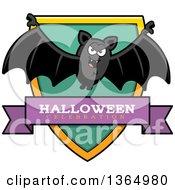 Clipart Of A Halloween Vampire Bat Halloween Celebration Shield Royalty Free Vector Illustration