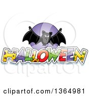 Clipart Of A Vampire Bat Over Halloween Text Royalty Free Vector Illustration