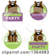 Clipart Of Halloween Werewolf Badges Royalty Free Vector Illustration by Cory Thoman